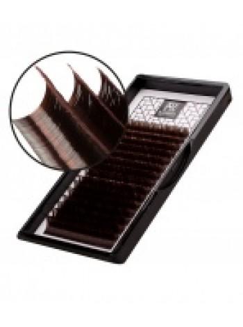 """Ресницы Barabara темно-коричневые MIX """"Горький шоколад"""" изгиб D - толщина 0.06"""
