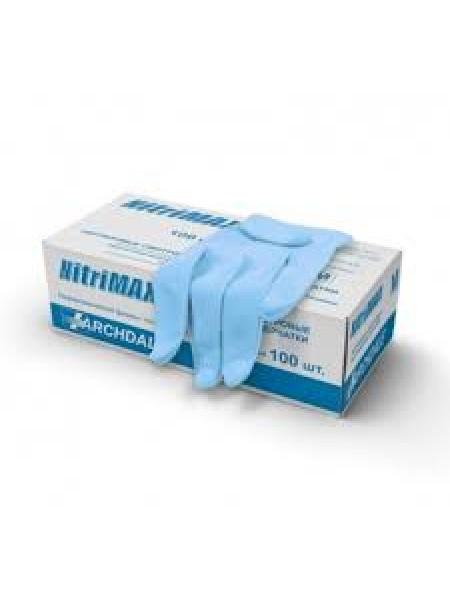 """Перчатки нитриловые """"NitriMax"""" S голубые 50 пар"""