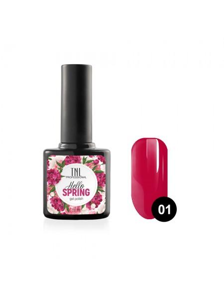 Гель-лак TNL Hello Spring №01 - малиновый (10 мл.)