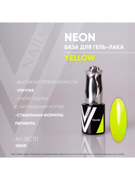 ВС111 Vogue nails Rubber Basa  Neon Yellow 10 мл